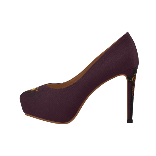 Dripping in Gold Skull & Cross- Women's French Gothic Heels in Eggplant Wine | Le Leanian™