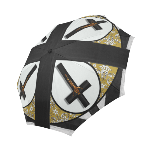 Crucifix- Fashion Umbrella- Custom Umbrella-Gothic Chic Umbrella in White- Gray