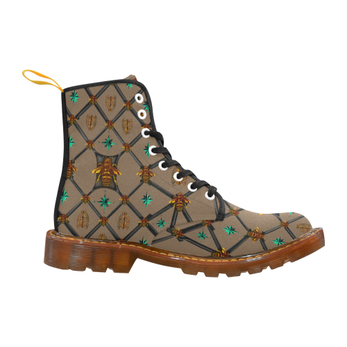 Bee Divergent Dark Ribs & Jade Stars- Women's French Gothic Combat  Boots in Neutral Camel | Le Leanian™