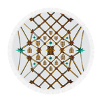 Circular Throw-Gilded GOLD BEES, RIBS, STARS PATTERN-Color WHITE