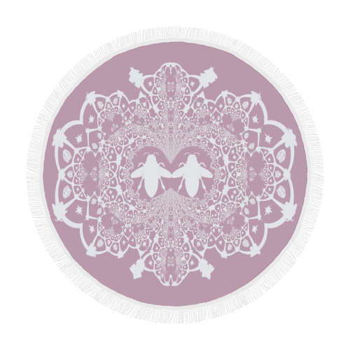 Circular Beach Throw-Baroque Honey Bee Hive Pattern-Color Blush PINK & WHITE