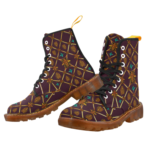 Women's Gilded Honey Bee and Ribs Pattern- Military Marten Style Lace-Up Boots- in Color Eggplant Wine, Wine Red, Purple, Blood Purple