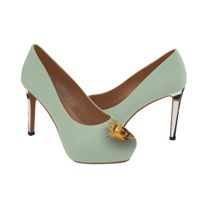 Dripping in Gold Skull & Cross-Women's French Gothic Heels in Pastel-Peep Heel | Le Leanian™