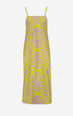 Byzantine Tie Dye- French Gothic V Neck Slip Dress in Nouveau Blush Lavender & Mustard | Le Leanian™