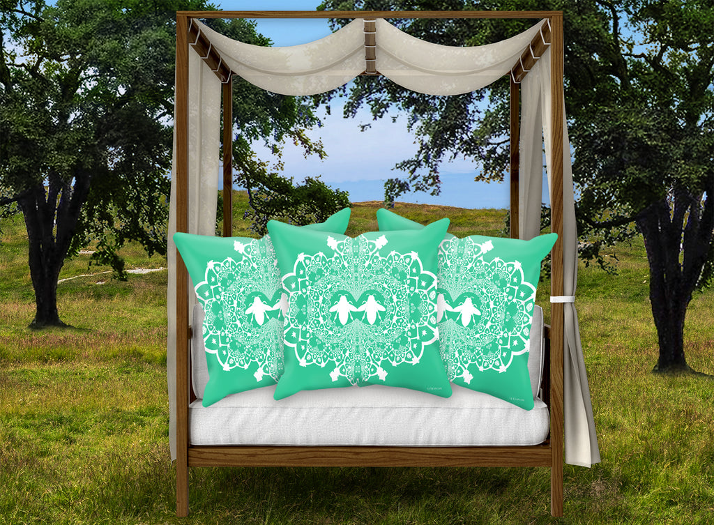 Baroque Honey Bee Relief Satin Pillowcase- French Gothic-Bold Teal Blue Green