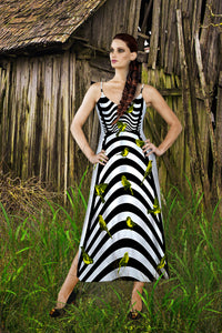 V Neck Slip Dress in Black Birdcage Pattern with Green Sparrows- on White