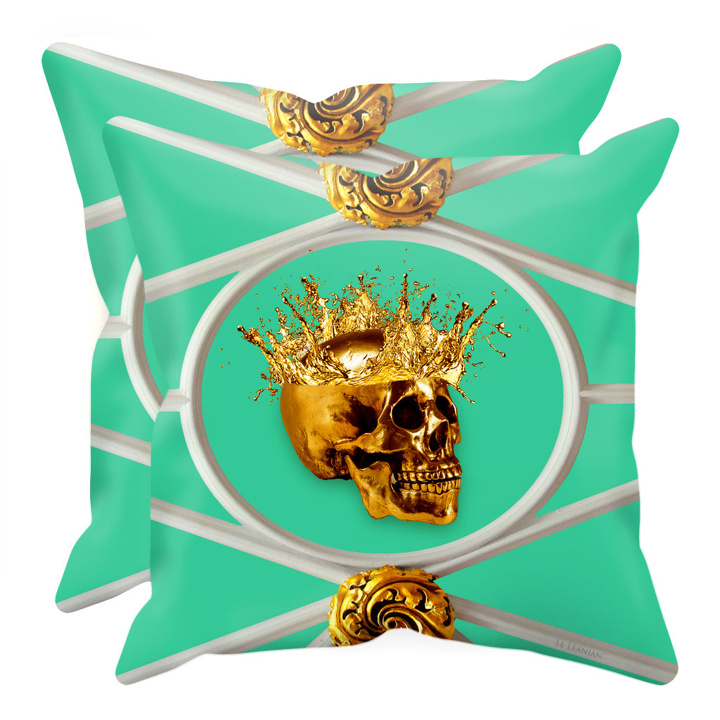 Versailles Golden Skull- Sets & Singles Pillowcase in Bold Jade Teal | Le Leanian™