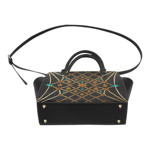 Gilded Bees & Ribs- Classic French Gothic Satchel Handbag in Back to Black | Le Leanian™