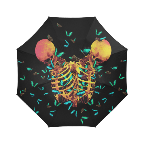 Siamese Skull Morpho- Semi-Automatic Foldable French Gothic Umbrella in Back to Black | Le Leanian™