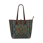 Women's Honey Bee, Ribs, Blue Star Pattern- Shoulder Tote in Color Midnight TEAL, BLUE