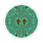 Baroque Honey Bee Extinction- Circular French Gothic Medallion Throw in Bold Jade Teal | Le Leanian™