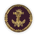 Circular BEACH THROW-Gold SKULL GOLD RIBS-GOLD WREATH- in Color EGGPLANT WINE, WINE RED, PURPLE