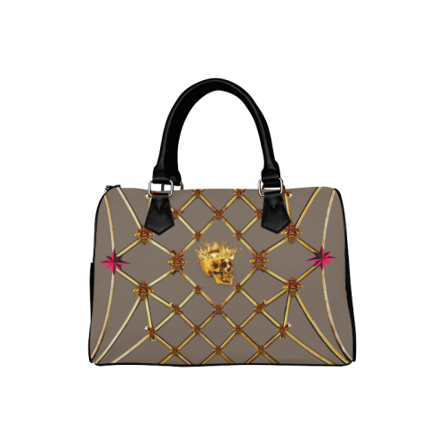 Skull & Magenta Stars- French Gothic Boston Handbag in Cocoa Clay | Le Leanian™