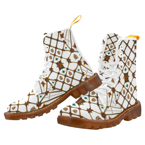 Women's Marten Style Military Boot- BEE RIBS STAR Pattern-Color White on WHITE