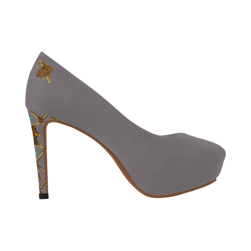 Gilded Bee Hive- Women's French Gothic Heels in Lavender Steel | Le Leanian™