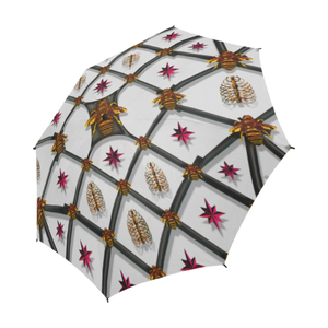 Semi Auto Folding UMBRELLA-BEE RIBS PINK STARS- Color LIGHT GRAY