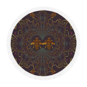 Baroque Honey Bee Extinction- Circular French Gothic Medallion Throw in Muted Eggplant Wine | Le Leanian™