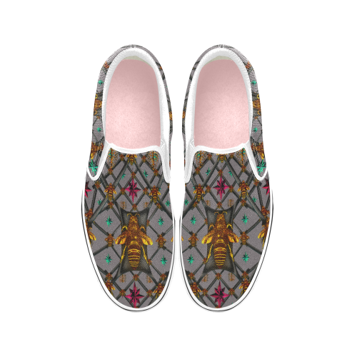 Women's MULTI COLOR- Honey BEE PATTERN-Slip-On Sneakers- Color LAVENDER STEEL, NEUTRAL PURPLE