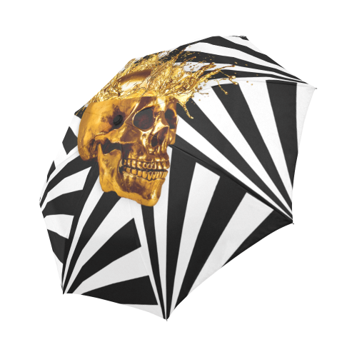 Cirque-Circus UMBRELLA-Geometric Stripes and Gold Skull-Color BLACK ON WHITE