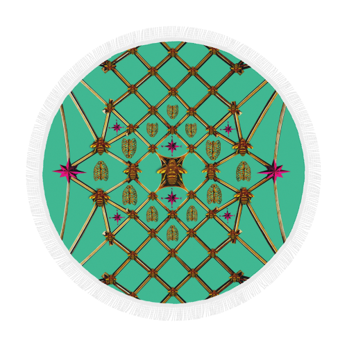 Bee Divergence Gilded Ribs & Magenta Stars- Circular French Gothic Medallion Beach Throw in Bold Jade Teal | Le Leanian™