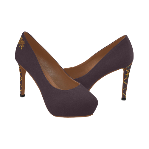 Gilded Bee Hive- Women's French Gothic Heels in Muted Eggplant Wine | Le Leanian™