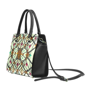 Bee Divergent Abstract- Classic French Gothic Riveted Satchel Handbag in Pale Green | Le Leanian™