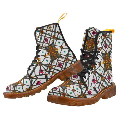 Women's Marten Style Military Boot-ABSTRACT MULTI COLOR HONEY BEE and RIBS PATTERN-Color LIGHT GRAY, GREY