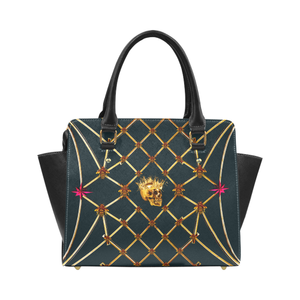 Skull and Honey Bee-Honeycomb Pattern-Magenta Stars- Classic Satchel Hand Bag in Color Midnight Teal- Navy Blue- Blue