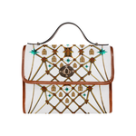 Gold Bee & Ribs- Women's Clutch Handbag in Color WHITE and Tan