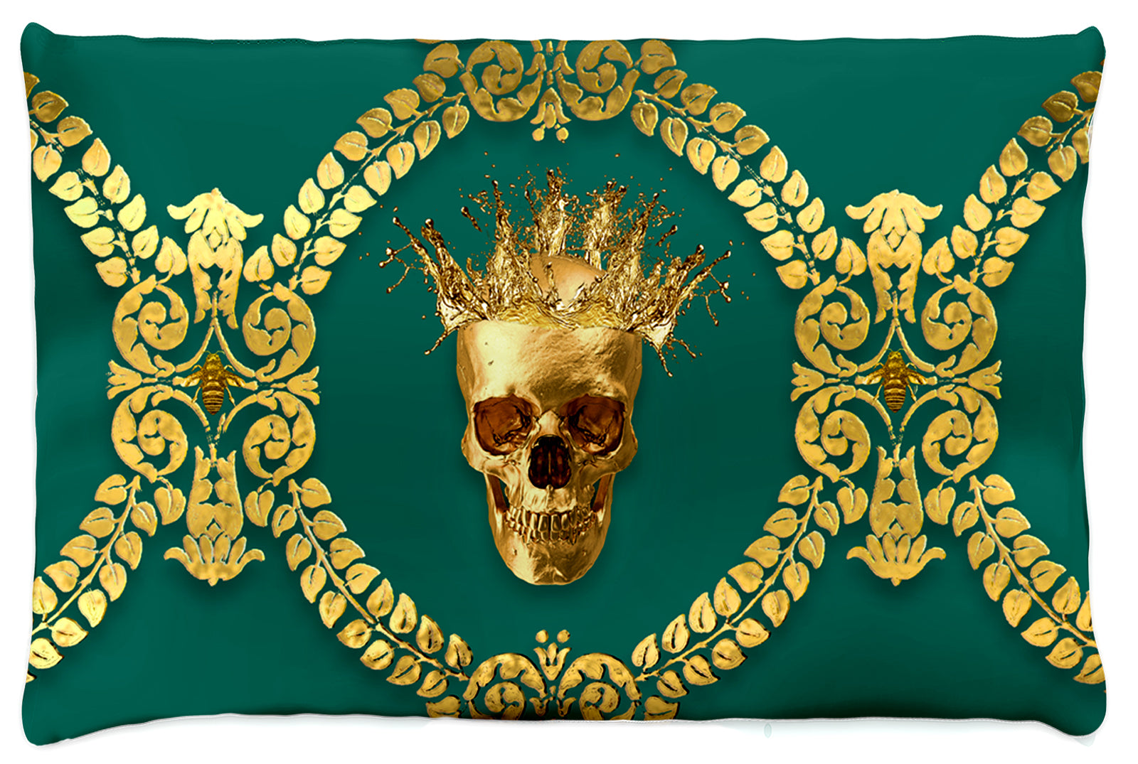 Caesar Gilded Skull & Bees- Singles & Body Pillow in Jade | Le Leanian™ | The Photographist™