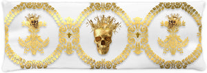 CROWN GOLD SKULL-GOLD RIBS-Body Pillow-PILLOW CASE- color GRAY