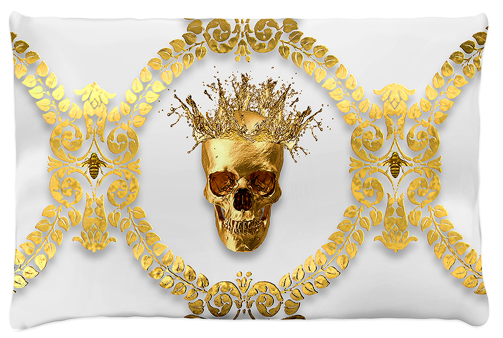 Caesar Gilded Skull & Bees- Singles & Body Pillow in Lightest Gray | Le Leanian™ | The Photographist™