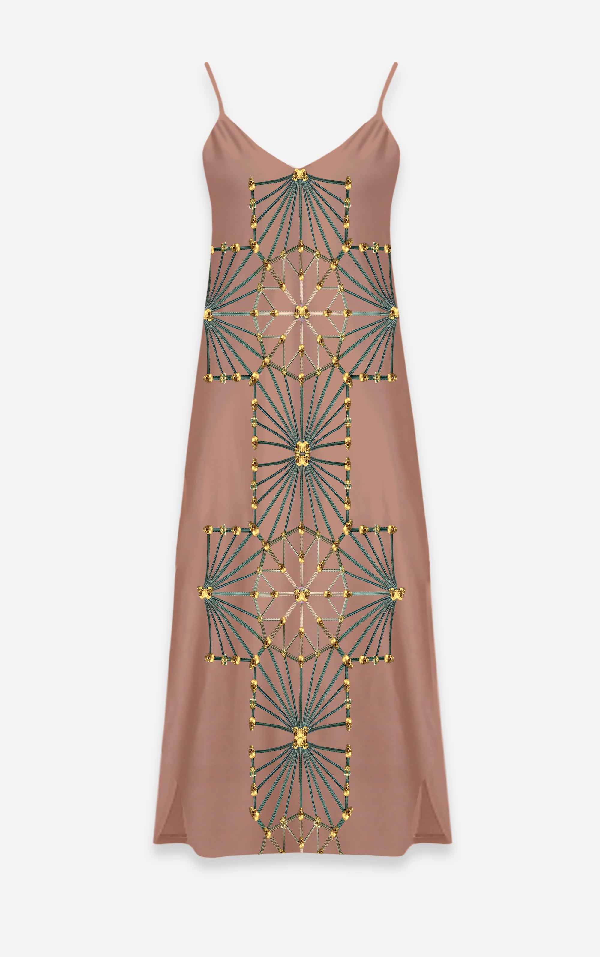 Skull Cathedral- French Gothic V Neck Slip Dress in Blush | Le Leanian™