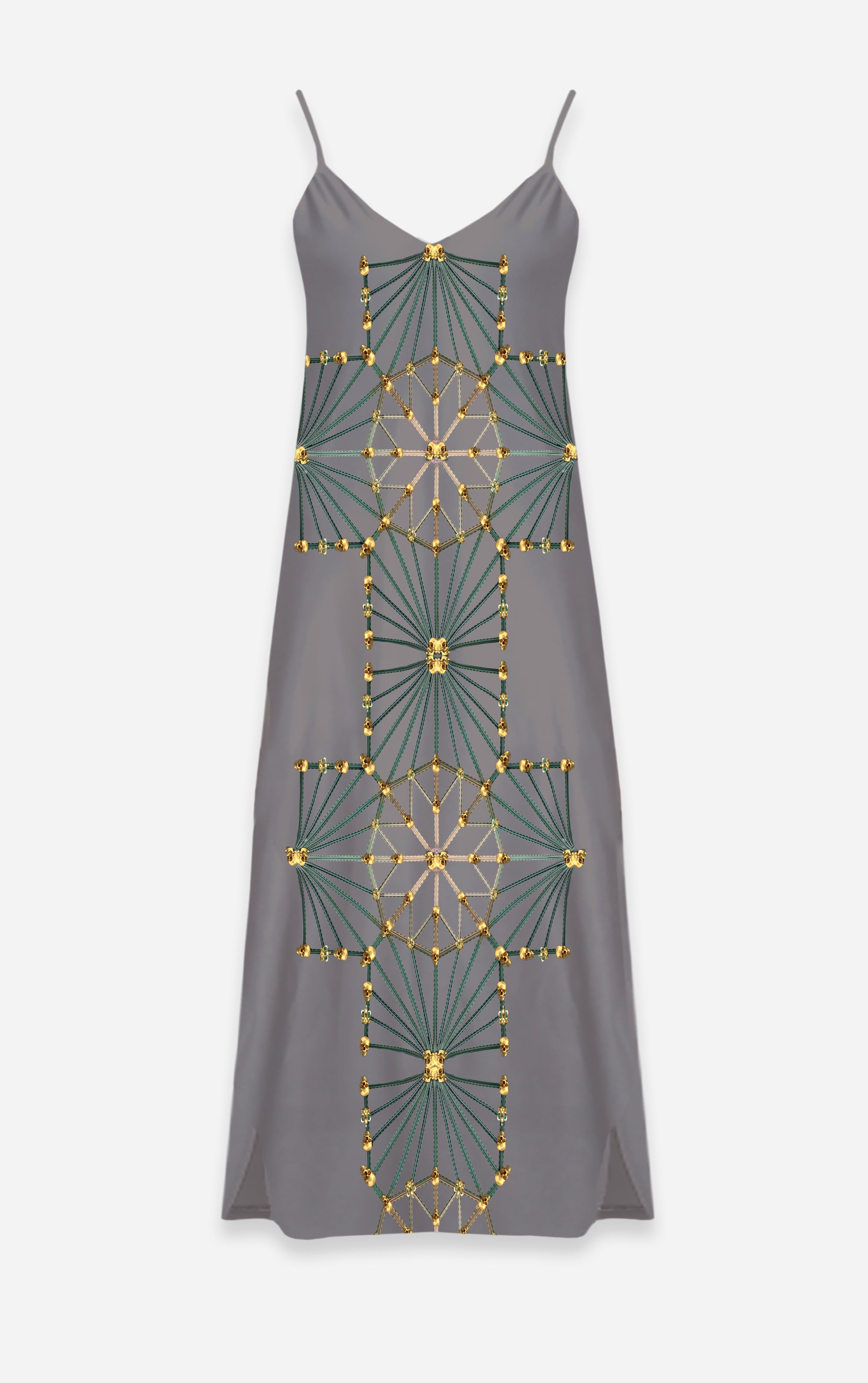 Skull Cathedral- French Gothic V Neck Slip Dress in Lavender Steel | Le Leanian™
