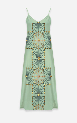 Skull Cathedral- French Gothic V Neck Slip Dress in Pastel Blue- Le Leanian™