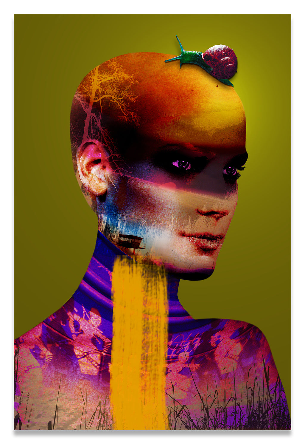 Colorful Chartreuse Surreal Portrait of a Bald Woman with a Snail on her Head.