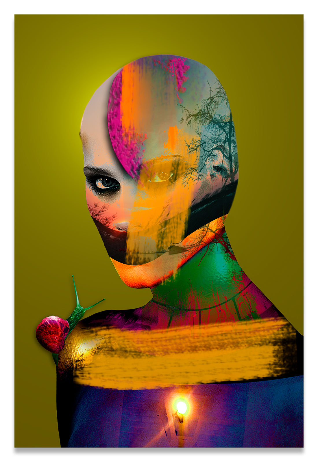 Bold Color Portrait of a Bald Woman Covered in Paint with a Snail on her Shoulder.