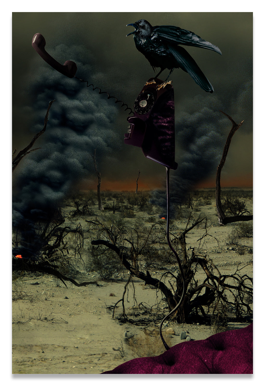 Vertical Portrait of a Crow in a Apocalyptic World.