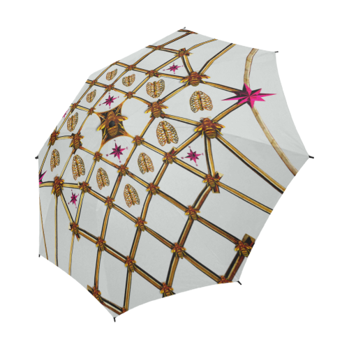 Bee Divergence Gilded Ribs & Magenta Stars- Semi & Auto Foldable French Gothic Umbrella in Lightest Gray | Le Leanian™