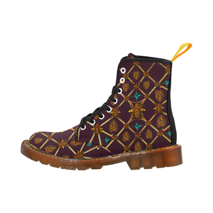 Gilded Bees & Ribs- Women's French Gothic Combat  Boots in Eggplant Wine | Le Leanian™