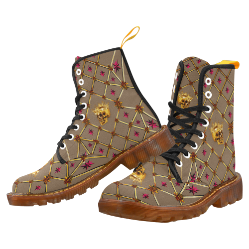 Women's Gold Skull and Magenta Stars- Marten Boots- Lace-Up Combat Boots in Color Neutral Camel, Tan, Brown