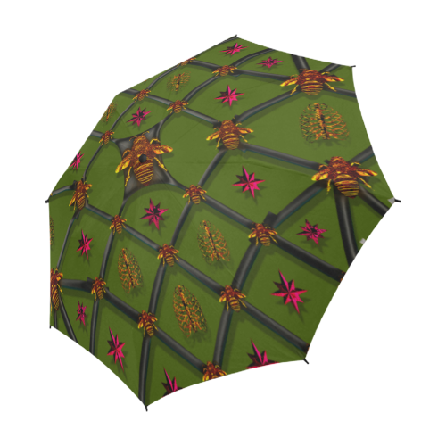 Semi Auto Folding UMBRELLA-BEE RIBS PINK STARS- Color OLIVE GREEN, ARMY GREEN