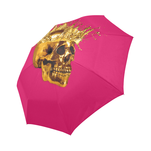 Cirque- Circus Metallic Gold Skull Umbrella- in Color Solid Bold Fuchsia, PINK