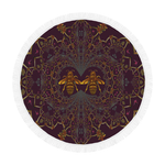 Circular Beach Throw-Baroque Honey Bee Hive Pattern-Color EGGPLANT WINE, PURPLE, WINE RED