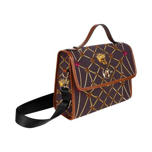 Skull and Honeycomb- Mini Brief Handbag in Muted Eggplant Wine | Le Leanian™