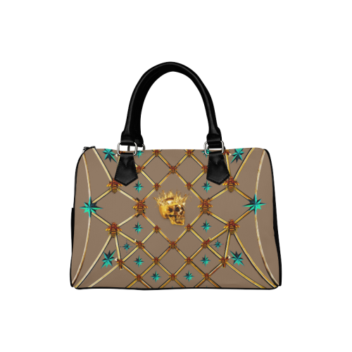Gold Skull and Teal Stars-Honey Bee- Classic Boston Handbag- in Color Neutral Camel, Clay, Tan, Brown, Neutral