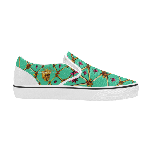 Skull & Magenta Stars- Women's French Gothic Slip-On Sneakers in Bold Pastel Jade | Le Leanian™
