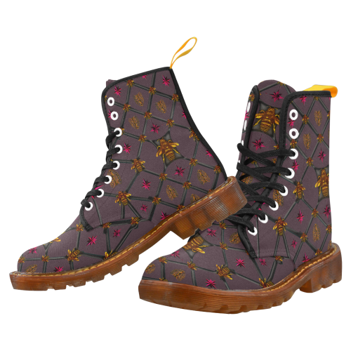 Bee Divergent Dark Ribs & Magenta Stars- Women's French Gothic Combat  Boots in Muted Eggplant Wine | Le Leanian™
