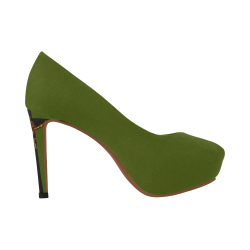 Dripping in Gold Skull & Cross- Women's French Gothic Heels in Bold Olive | Le Leanian™