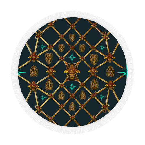Bee Divergence Gilded Bees & Ribs Teal Stars- Circular French Gothic Medallion Beach Throw in Midnight Teal | Le Leanian™